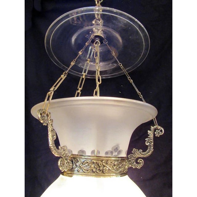 English Traditional Early 19th Century English Regency Frosted and Etched Glass Bell Jar Lantern For Sale - Image 3 of 7