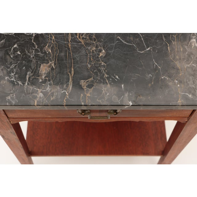 Brown Portoro Black Marble and Mahogany SideTable For Sale - Image 8 of 11