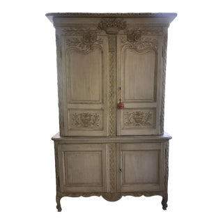 French Armoire Louis XVI 19th Century Painted Buffet Deux Corps For Sale