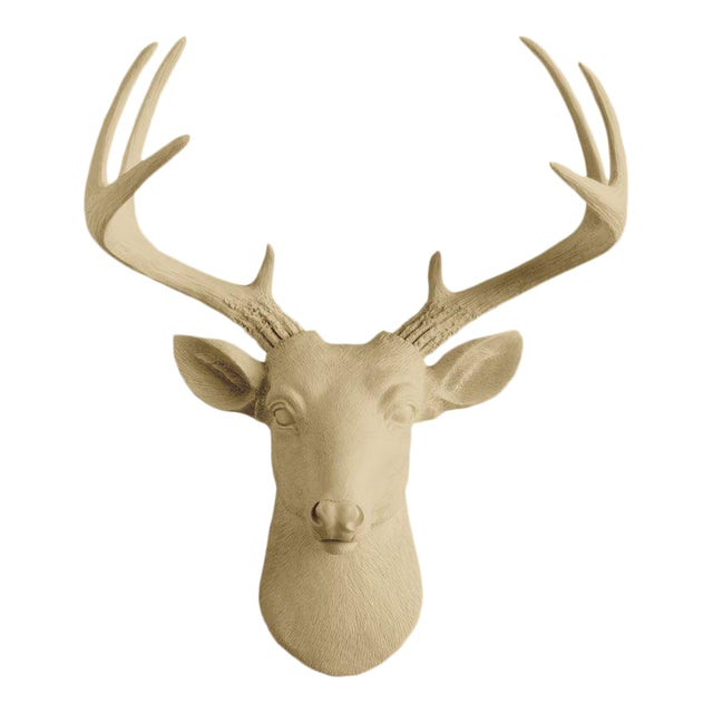 Khaki Brown Faux Mini Deer Head Bust by Wall Charmers For Sale