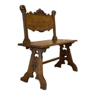 19th Century Italian Gothic Bench For Sale