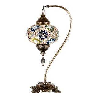 Turkish Moroccan Handmade Mosaic Swan Neck Desk Lamp For Sale