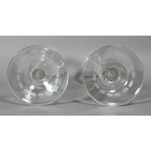 Pair of Victorian Etched Glass Candlesticks For Sale - Image 4 of 7
