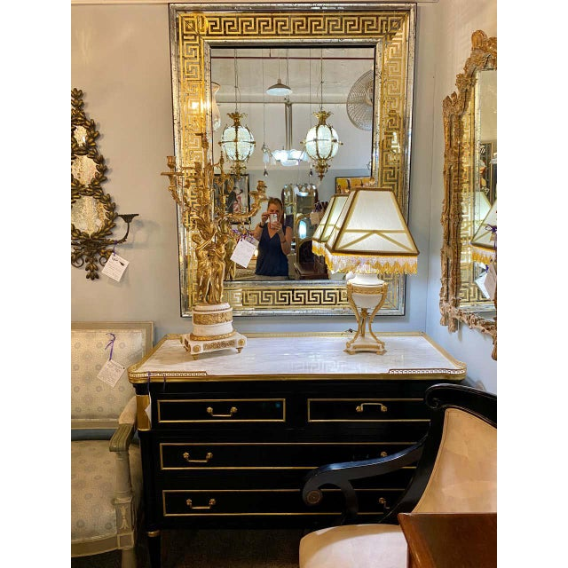 Hollywood Regency Mirrors Gilt Gold Greek Key Design Wall, Console Pier a Pair For Sale - Image 11 of 13