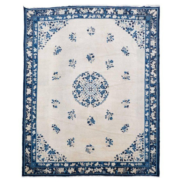 Incredible Large Scale Chinese Art Deco Rug In Cream And Navy With