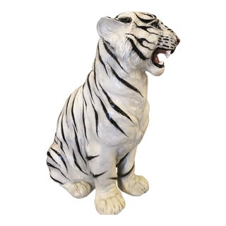 Vintage Hollywood Regency White Tiger Large Statue For Sale