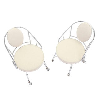 Pair of Faux Bamboo Chrome Fireside Lounge Chairs For Sale