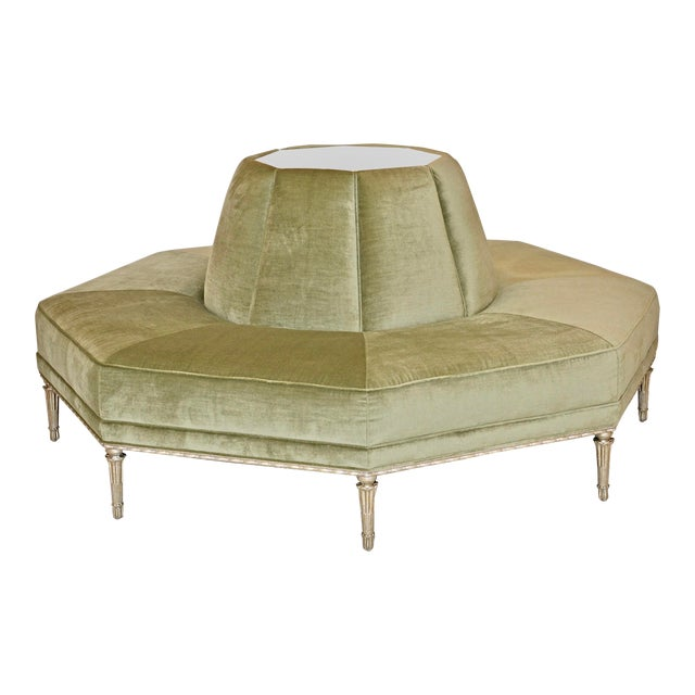 Caracole Modern Celery Green Velvet and White Stone Round/Octagonal Banquette For Sale