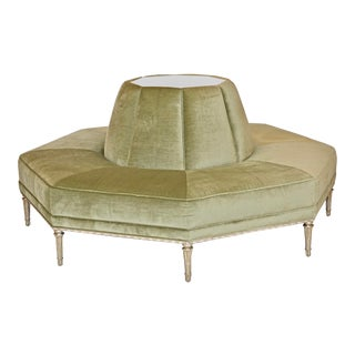 Caracole Modern Sage Green Velvet and White Stone Roundeley Prototype For Sale