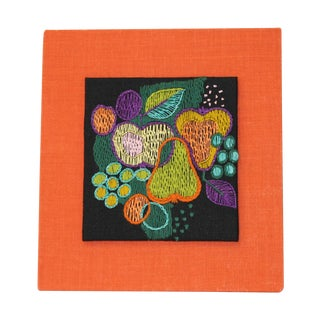 Vintage Scandinavian Still Life Embroidered Panel For Sale