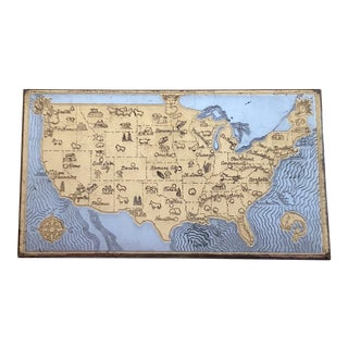 1950s Vintage Cigarette Case Box With Usa Map For Sale