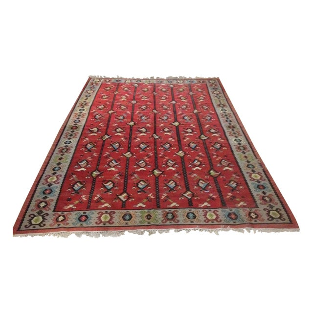Red Bird & Fish Area Rug - 10' x 6' For Sale
