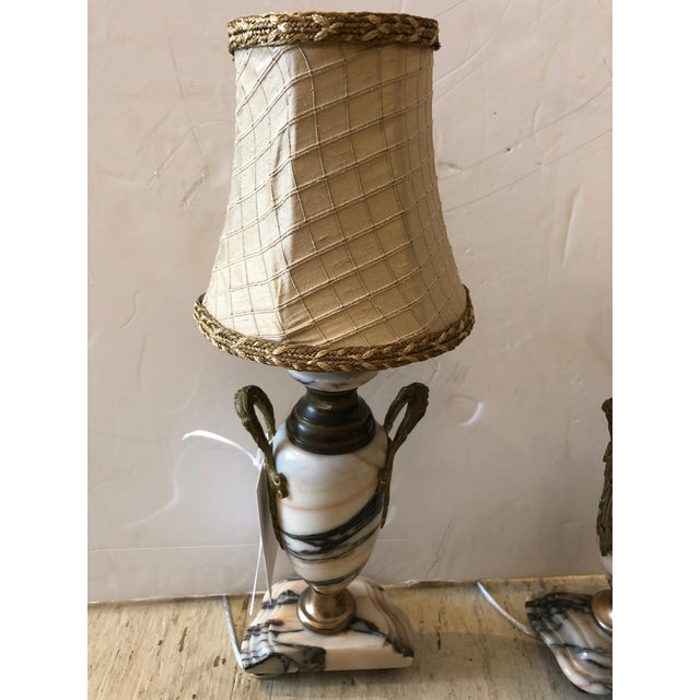 White Truly Elegant Antique Carrara Marble and Bronze Pair of Small Table Lamps For Sale - Image 8 of 12