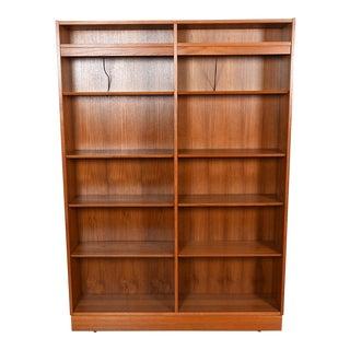 Lighted Danish Modern Teak Adjustable Shelf Double Bookcase For Sale
