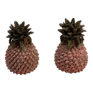 Small Ceramic Pineapple Decor - a Pair For Sale