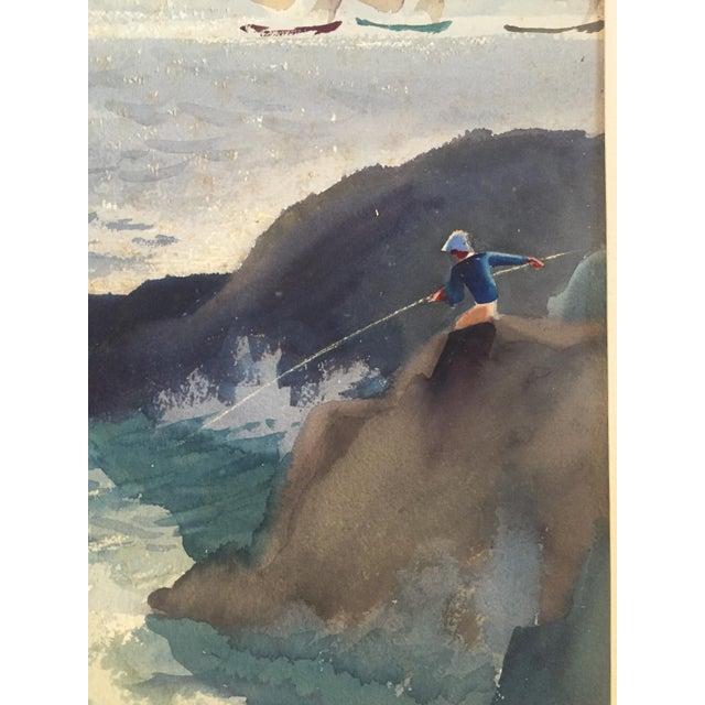 David L. Swasey Original Palais Bourbon, Paris on Reverse Side Watercolor Seascape Painting For Sale In Savannah - Image 6 of 13