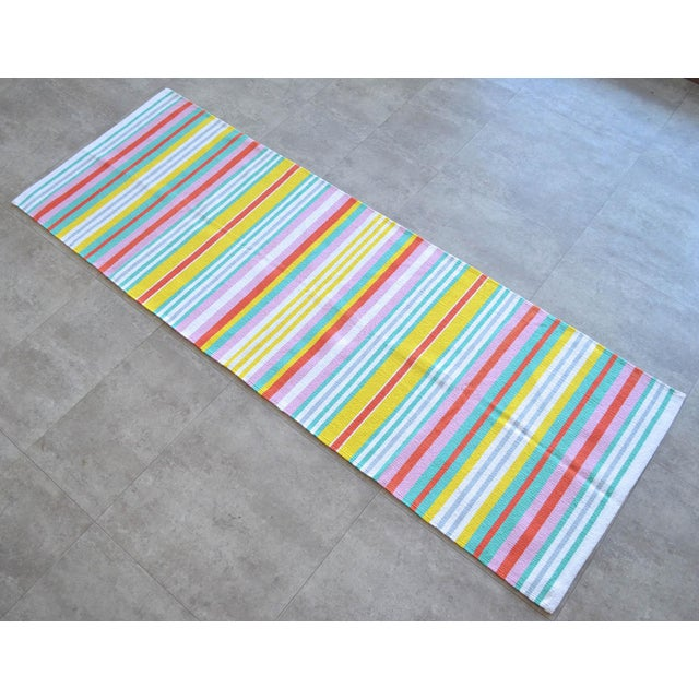 Zara Home Design Hand Made Striped Small Runner Rug. Material : cotton on Cotton Condition: Slightly ssed rug is in...