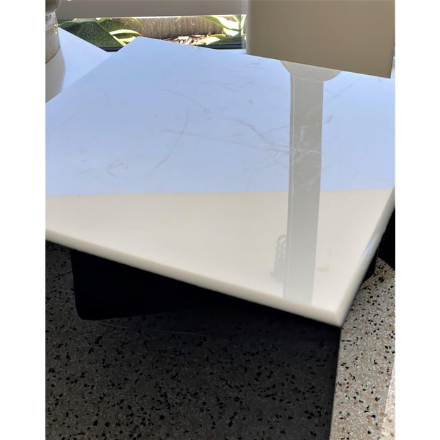 Modern Vintage Pedestal Illuminated Black and White Lucite For Sale - Image 3 of 12