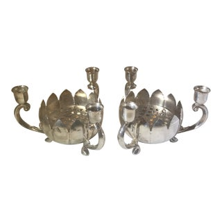 1970's Vintage Leonard Silver Lotus Flower Candleholders- A Pair For Sale