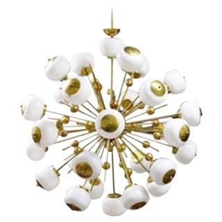Italian Brass and Glass Sputnik Chandelier