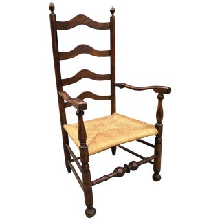 18th Century Philadelphia Ladder Back Armchair Turned Stretcher, 1760 For Sale