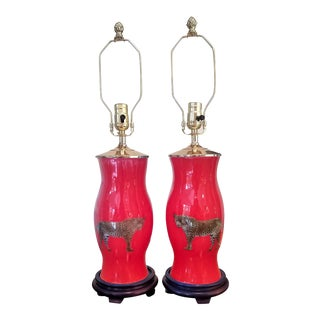 Painted Leopard on Red Glass Table Lamps - a Pair For Sale