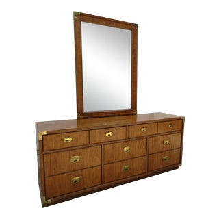 Thomasville Campaign Style Eight Drawer Dresser With Mirror For Sale