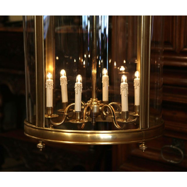 White Mid-20th Century French Six-Light Brass Lantern With Decorative Finials For Sale - Image 8 of 9
