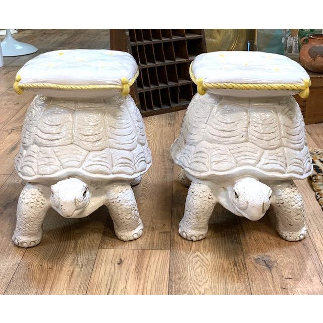 Found in a beautiful East Hampton, NY garden, we bring to you this pair of mid century decorative Italian garden seats in...