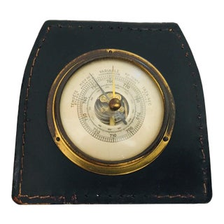 Brass Barometer With Readings in French Wrapped in Black Leather, Adnet Style For Sale