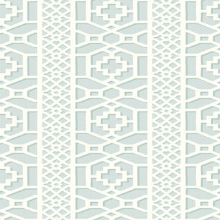 Sample - Schumacher Zanzibar Trellis Wallpaper in Cloud For Sale