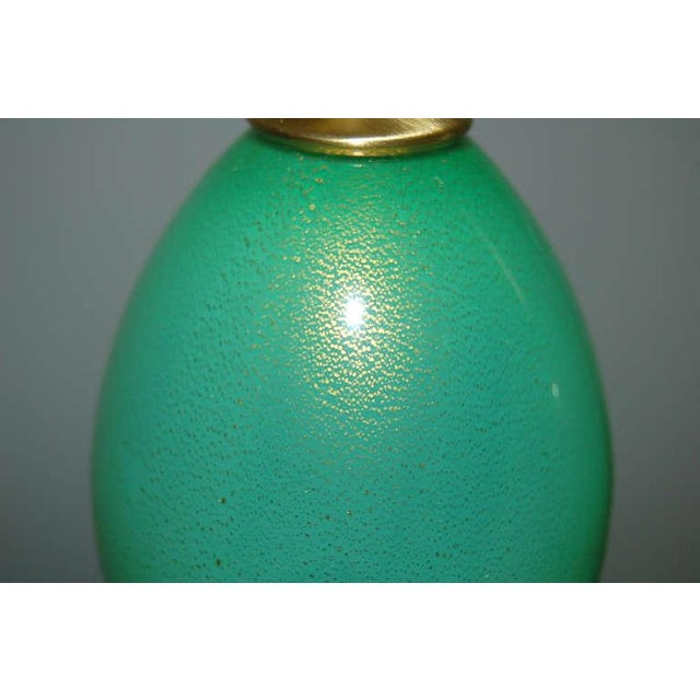 1960s Vintage Murano Glass Egg Table Lamps Green For Sale - Image 5 of 9