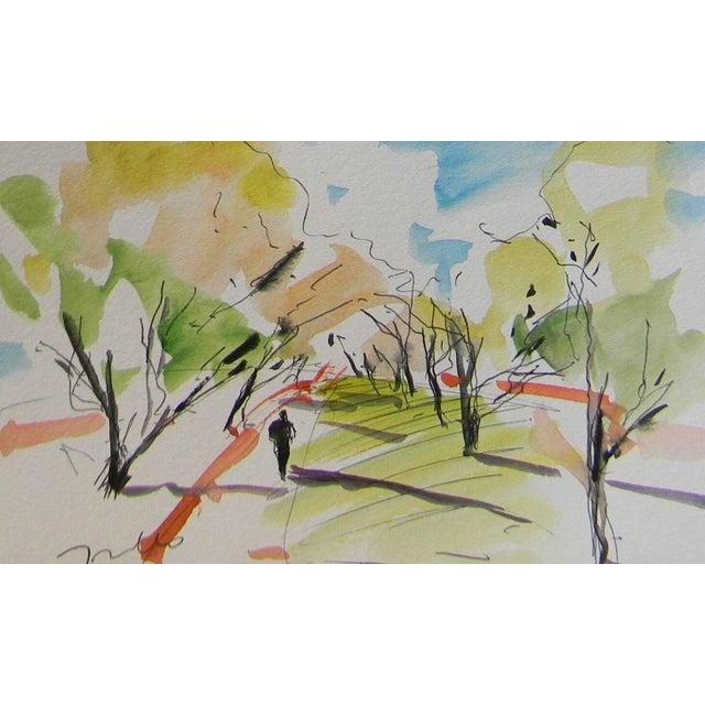 Jose Trujillo Original Impressionist Watercolor Painting - Grove Orchard Person For Sale