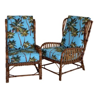 Custom Upholstered Vintage Coastal Stick Rattan Wing Back Chairs-Pair For Sale