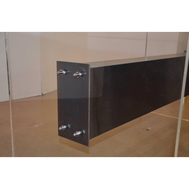 Lucite, Glass and Steel Dining Table or Desk For Sale - Image 9 of 11