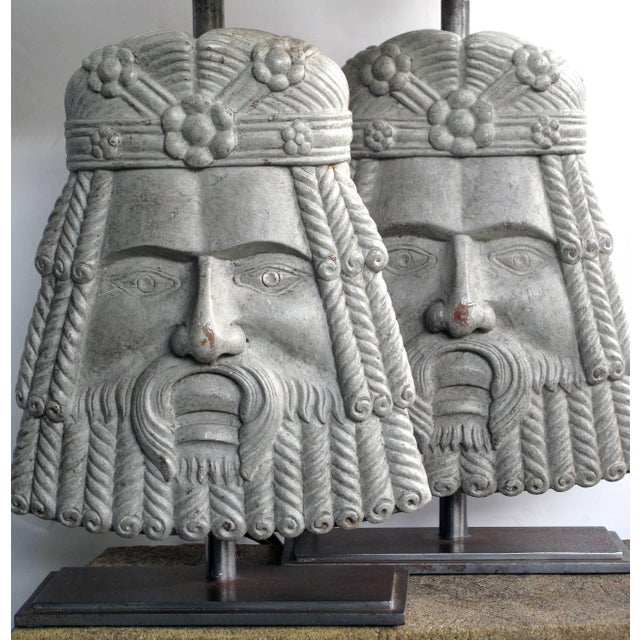 Well-Carved Pair of Italian Romanesque Style Gray Painted Wooden Masks now Lamps For Sale In San Francisco - Image 6 of 6