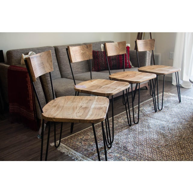 Handcrafted Acacia Wood & Iron Chairs - Set of 4 - Image 2 of 7