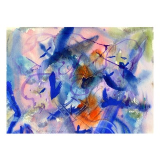Pink & Blue Abstract by Les Anderson