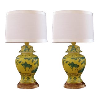 A Stunning and Richly-Colored Pair of Mid-Century Japanese Canary Yellow Ginger Jars With Dark Green Decoration Now Mounted as Lamps; Stamped For Sale