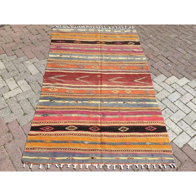 Striped Soft Colored Turkish Kilim Rug For Sale - Image 9 of 9