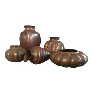 Mexican Folk Art Solid Copper Vessels - Set of 5 For Sale