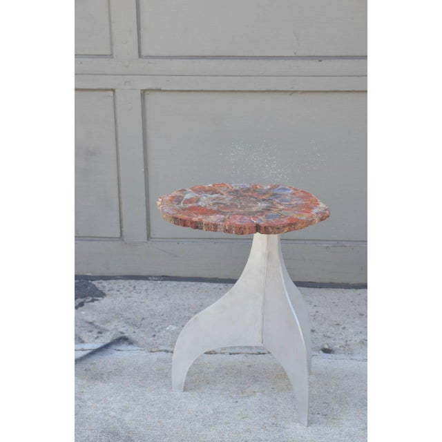 Metal Seve' Petrified Wood and Aluminium Side Table by Design Frères For Sale - Image 7 of 7