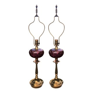 Vintage Amethyst Glass and Brass Lamps - a Pair For Sale
