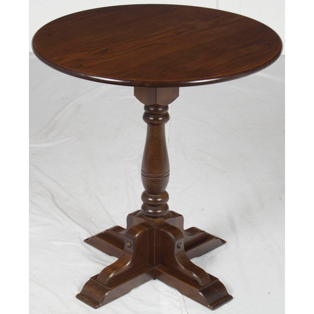 1980s Rustic Small Round Oak Side Table
