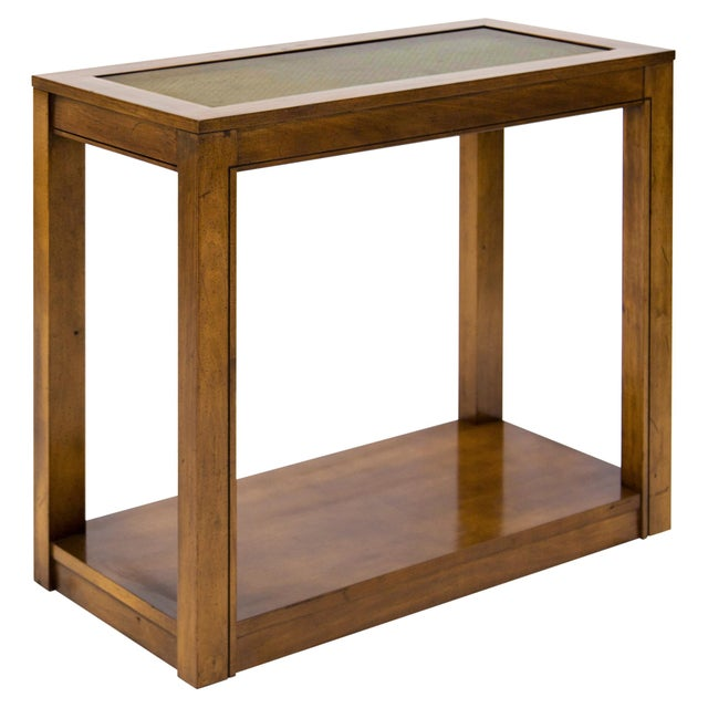 Wood Vintage Caned Top Parsons Console Table For Sale - Image 7 of 8