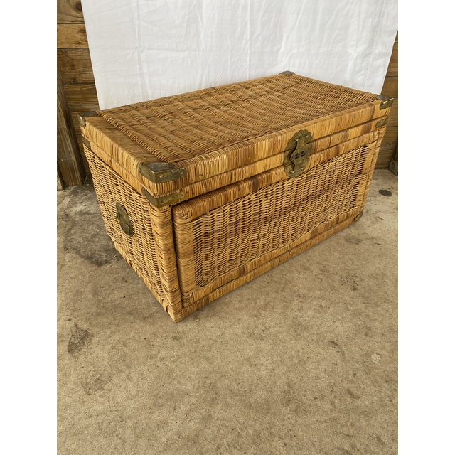Vintage Coastal Wicker Braid Drop Down Front Trunk For Sale - Image 12 of 13