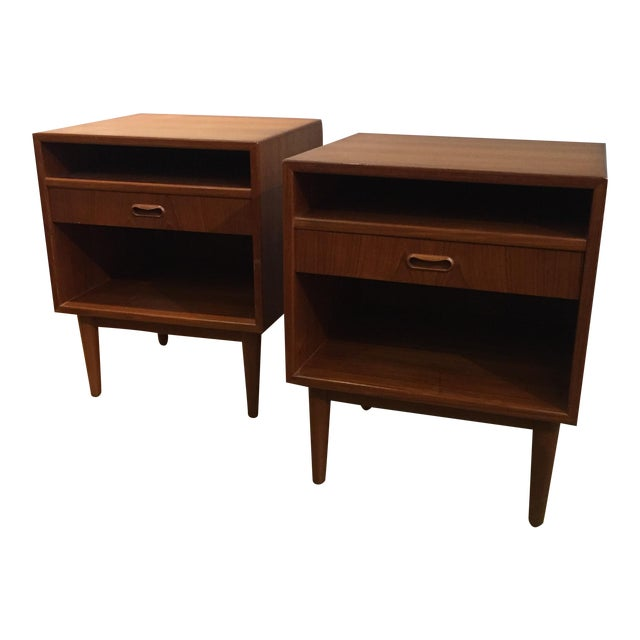 Danish Modern Teak Nightstands - Pair - Image 1 of 6