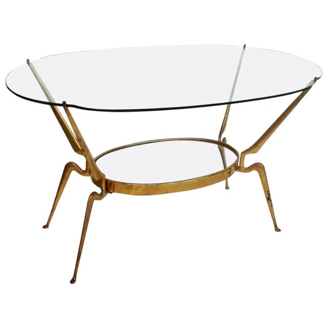 1950s Italy Mid-Century Modern Brass / Glass Coffee Table by Cesare Lacca For Sale In Dallas - Image 6 of 6