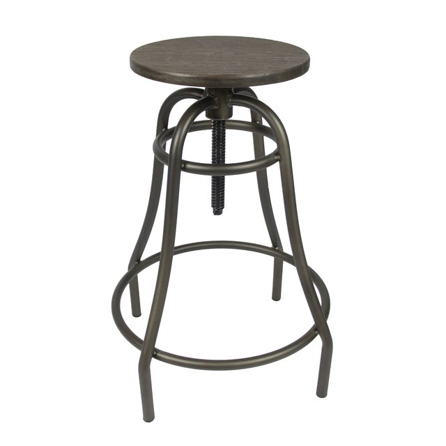 Industrial Style Counter Bamboo Top Bar Stool Chairish