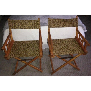 Directors Chairs From Telescope Chair, Leopard Print Fabric, Midcentury, Pair Preview